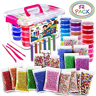 Ultimate Slime Kit - 24 Color Crystal Clear Fluffy DIY Starter Slime Supplies for Girls and Boys With Loads of Crunchy Accessories from Partyverse