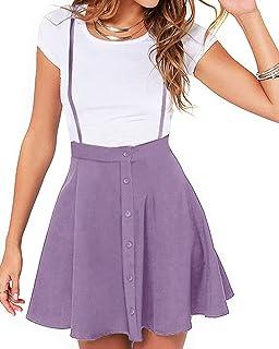 YOINS Falda Plisada de Mujer Falda Mini Skater Acampanada Vestido de Faldas de Tirantes Casuales de Moda Elástica Versátil
