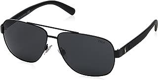 Polo Ralph Lauren Men's PH3110 Aviator Metal Sunglasses, Demishiny Black/Dark Grey, 60 mm