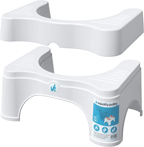 """Squatty Potty The Original Bathroom Toilet Stool - Adjustable 2, Convertible to 7"""" or 9"""" Height, White"""