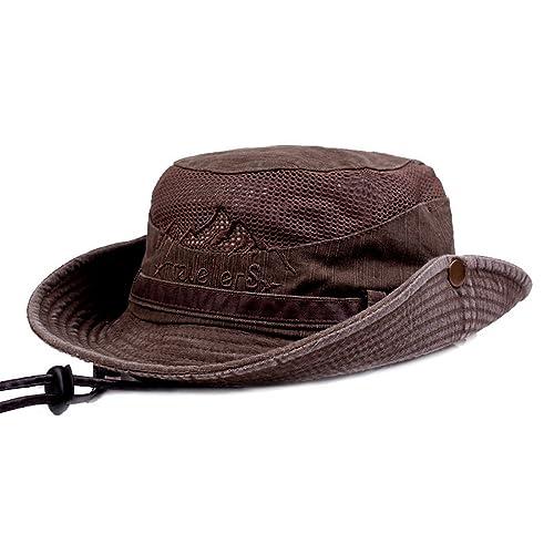 2a3bebf5a1c KeepSa Mens Summer Cotton Embroidery Visor Bucket Hats Fisherman Hat  Outdoor Climbing Mesh Sunshade Cap