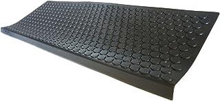 Rubber-Cal Coin-Grip Non-Slip Rubber Tread Stair Mats (6 Pack), Black