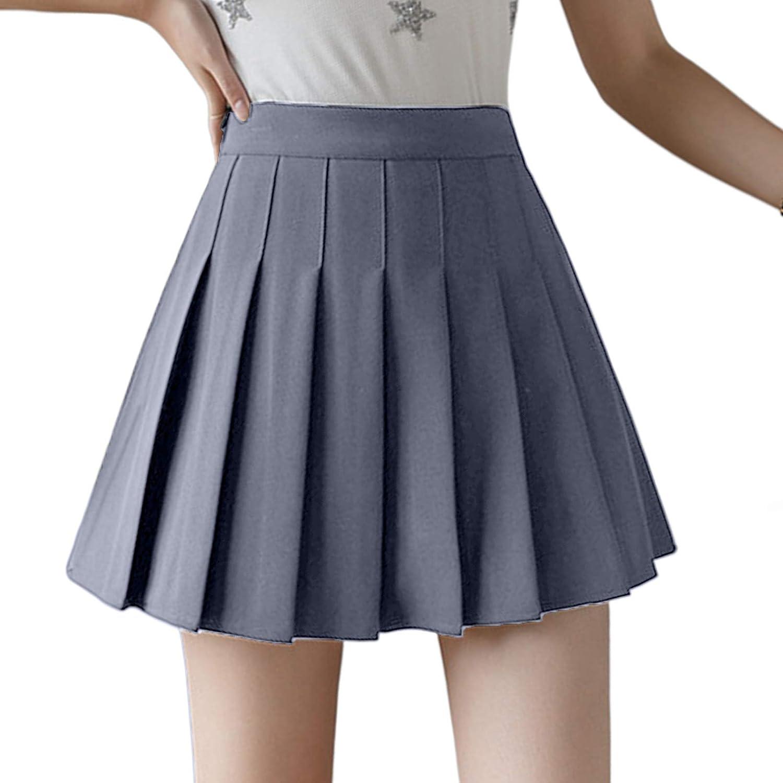 Women's Basic High Waist A-line Tenni Pleated Now free shipping Plain price Skater Skirt