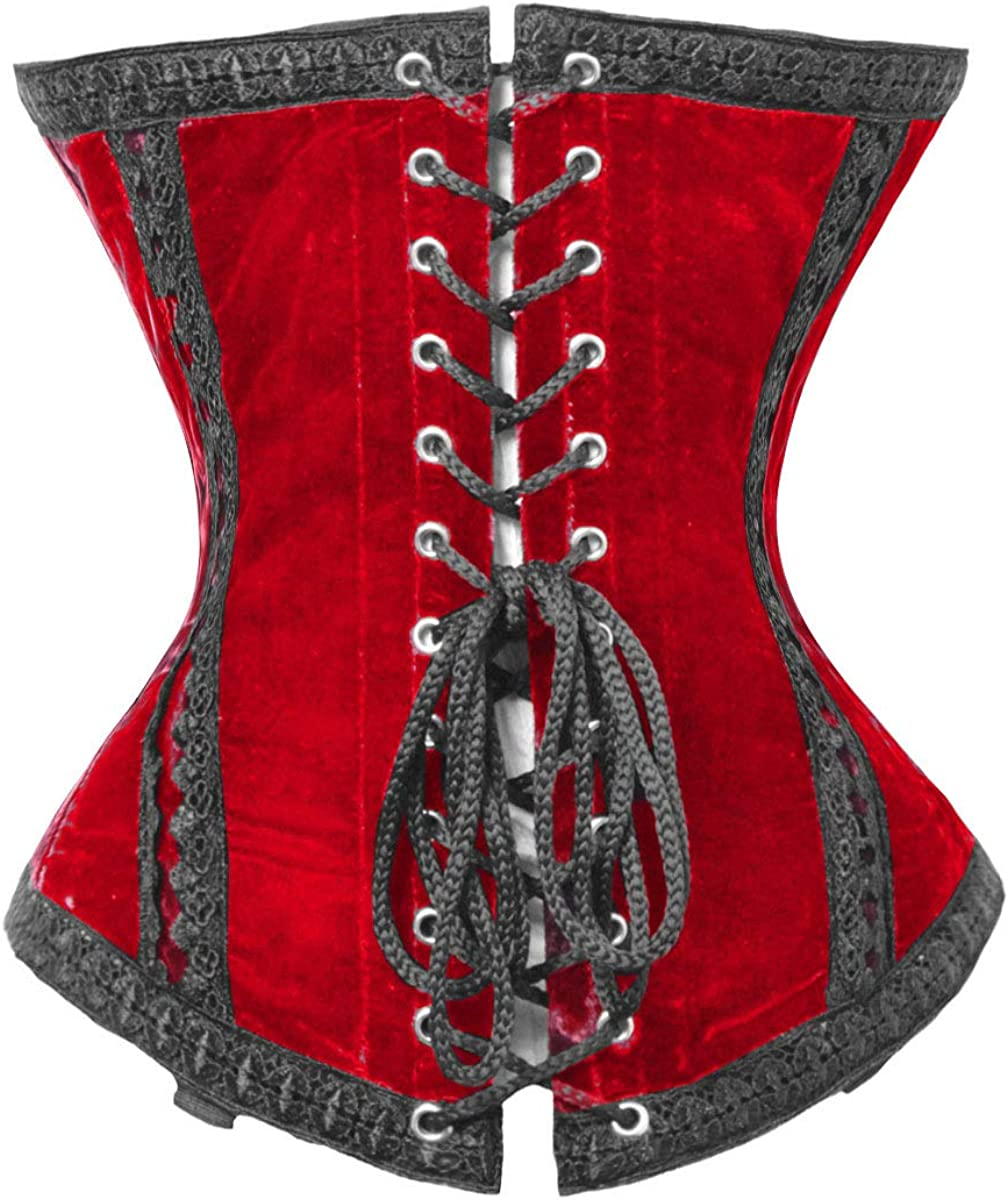 Beautiful Lace up Full Steel Boned Waist Cincher Cotton Strong Underbust  Corset
