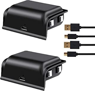 Xbox One Controller Battery Pack TGJOR 1200 mAh Rechargeable Battery (2-Pack) with 10ft USB Charging Cables(2Pcs) for Xbox One/Xbox One S/Xbox One X/Xbox Elite Wireless Controllers(Black)