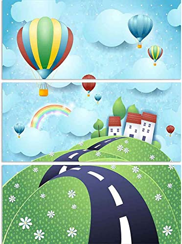 ArtzFolio Fantasy Landscape with Road & Hot Air Balloons Split Art Painting Panel On Sunboard 28 X 37.3Inch