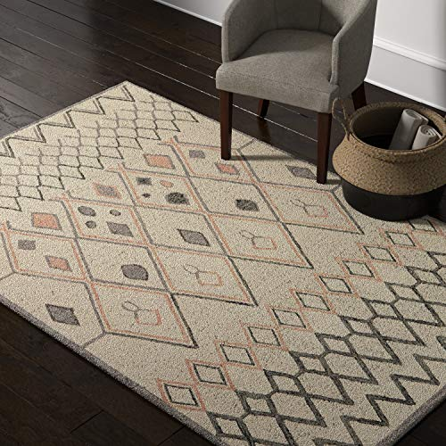 Amazon Brand – Rivet Handtufted Diamond-Patterned Cotton and Wool Area Rug, 5' x 8', Ivory with Charcoal and Blush