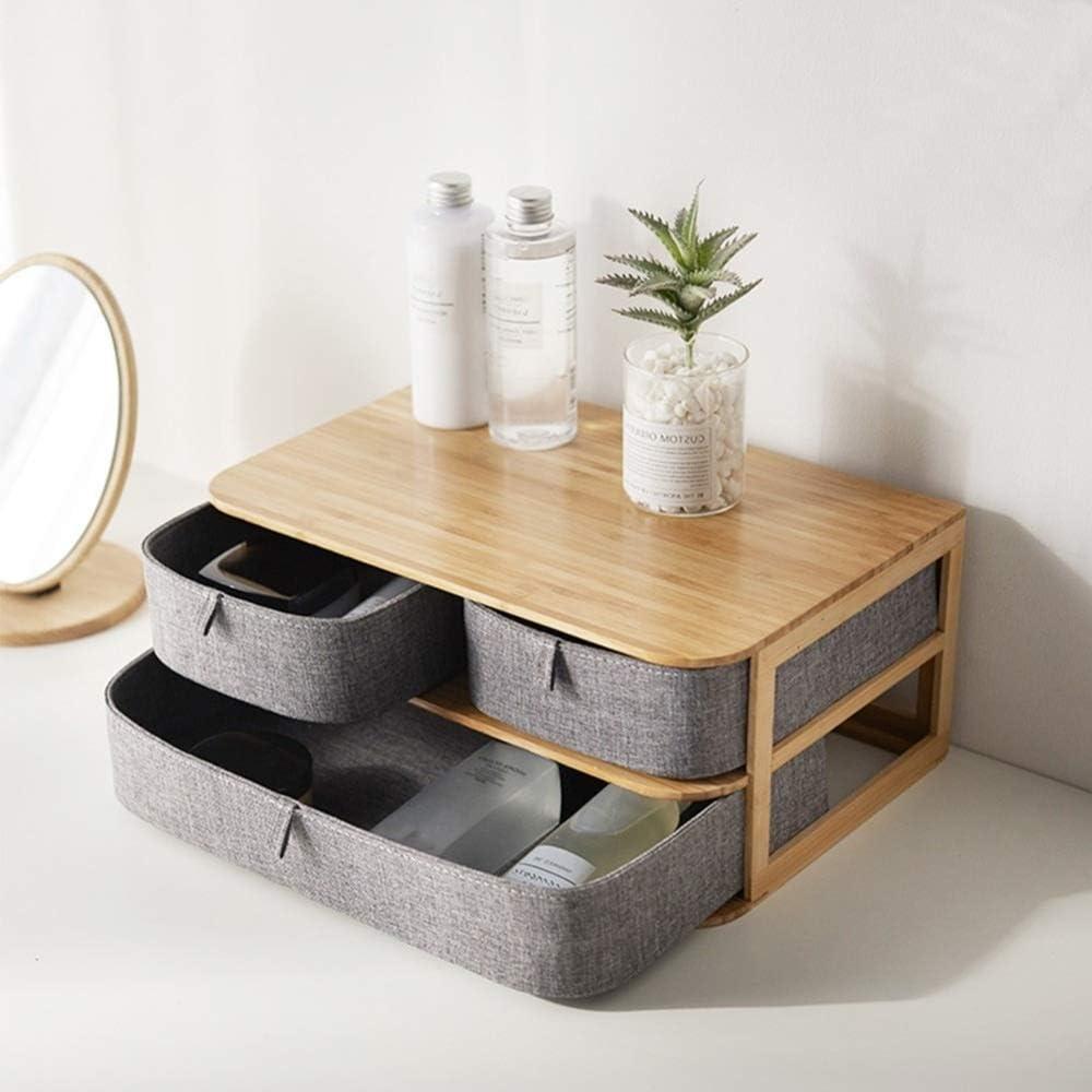 Multicouche tiroir type bambou bois bureau Boîte de rangement de bureau Tiroirs de rangement étanche multi-couches Structure Accueil Stockages (Color : 23X17.5X22cm) 23x17.5x22cm