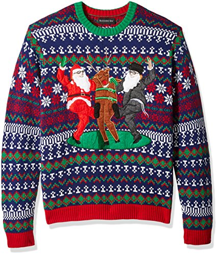 Blizzard Bay Men's Ugly Christmas Sweater Santa, Holiday Squad, Large