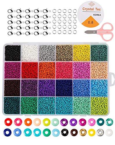 Mini Glasperlen Run Farben Perlen zum Basteln, 2 mm mit 24-Gitter Aufbewahrungsbox für Schmuckherstellung