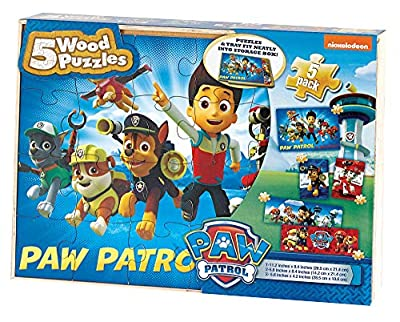 PAW Patrol 5-Pack of Wood Jigsaw Puzzles for Families, Kids, and Preschoolers Ages 4 and Up
