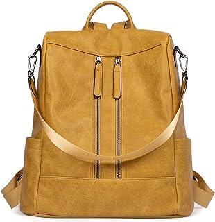 Rucksack Damen Anti Diebstahl Rucksack Damenrucksack aus Leder Rucksackhandtasche Tagesrucksack für Frauen Mädchen, Gelb