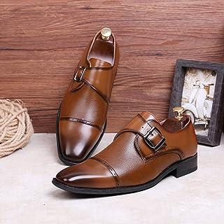 Kirabon Zapatos de Hombre, Zapatos de Negocios, Hebilla, un pie, Caballero, Zapatos, Tres Conjuntos de Zapatos de Cuero para Hombres Ocasionales (Color : Marrón, Size : 45)