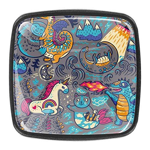 4 pomos de cristal para armario o armario o cajón, diseño de unicornio, gato Dinasour