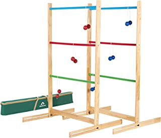 ApudArmis Ladder Toss Game Set, 40x28In Pine Wooden Golf Ladder Lawn Game with 6 Bolos Balls and Carrying Case - Outdoor B...