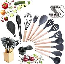 Köksredskap Set med Silikon Huvud och Trähandtag samt Träställ (23 delar + bonus upphängningskrokar), Köksverktyg , Bakver...