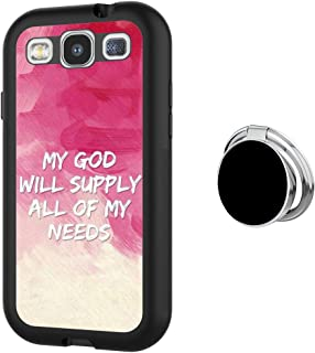 Case for Samsung Galaxy S3 case Christian Quotes With Ring Holder Slim Soft and Hard Tire Shockproof Protective Phone Cover Case Slim Hybrid Shockproof Protective Case Anti-Scratch Cushion Bumper with