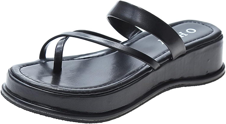 Womens Anti-Slip Platform Criss Cross Straps Slides Comfort Slip on Yoga Sling Clip Toe Wedges Slide Sandals