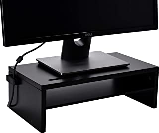 Monitor Stand - Two Tier Wood Desk Shelf for Monitor, Printer or Desktop Computer. Cable Management, Phone Slot and Remova...