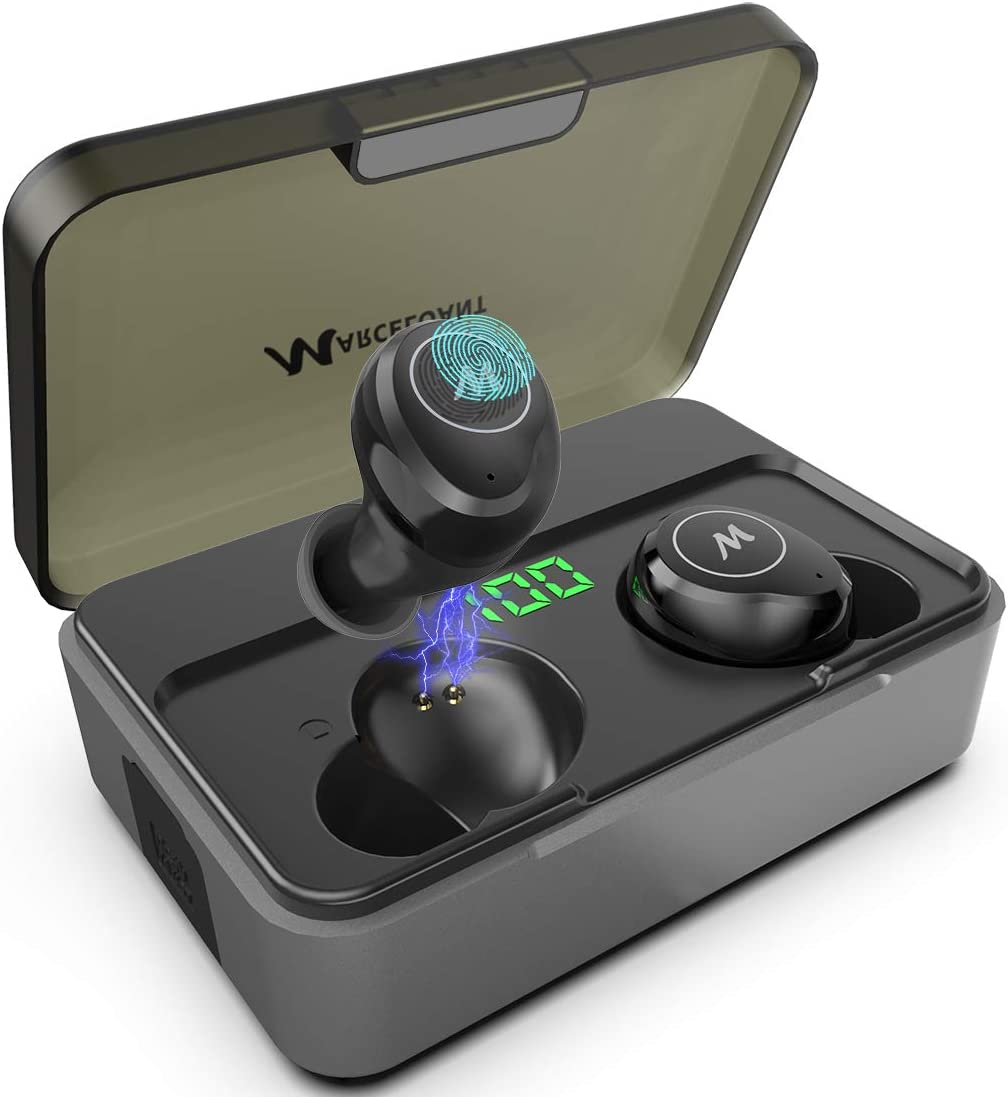 True Wireless Earbuds, Bluetooth 5.0 Headphones with Charging Case LED Battery Display, High-Fidelity 3D Stereo Waterproof Headphones in-Ear Built-in Mic Headset Premium Sound, 300H Cycle Play Time