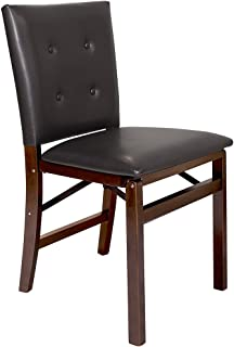 Meco STAKMORE Parson's Folding Chair Espresso Bonded Leather Finish, Set of 2,