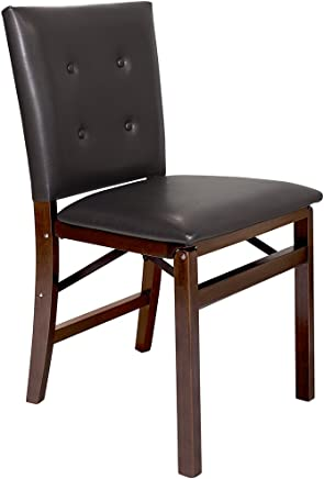 MECO 0355.6K972 STAKMORE Parson's Folding Chair Espresso Bonded Leather Finish,  Set of 2