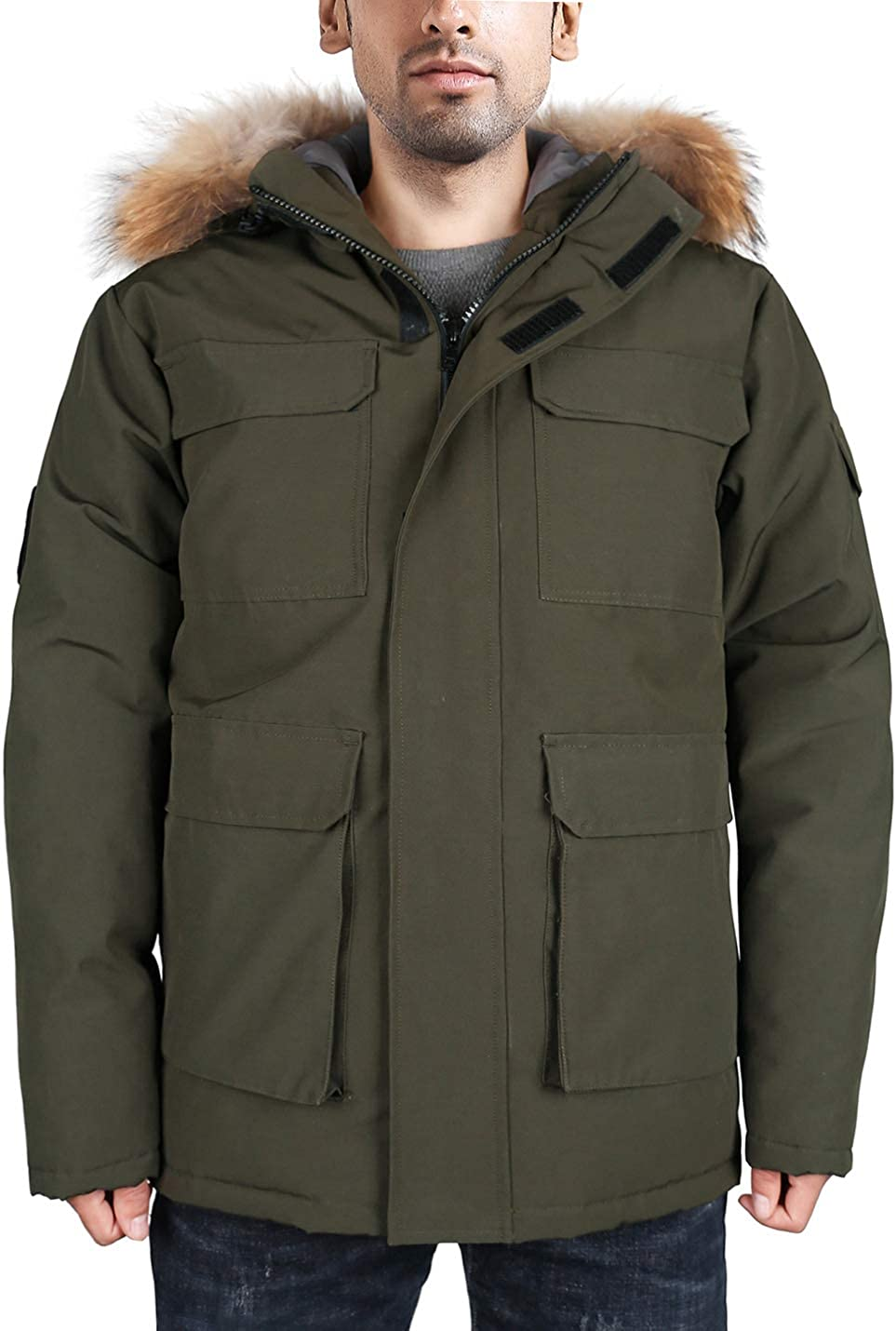 shipfree HARD LAND Men's Goose Down Waterproof Heavy Wi Jacket gift Parka