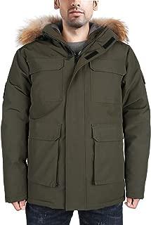 HARD LAND Men's Goose Down Parka Winter Coats Arctic Expedition Jacket Waterproof Warmest Outerwear with Fur Hood