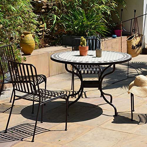 iD FOR YOU – Juego de 4 sillas y mesa redonda Mozaik, diámetro 110 cm, bandeja de Mosaico, pie de metal con agujero sombrilla