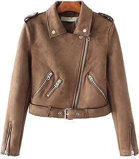 Sentao Women's Suede Zip up Faux Leather Biker Jacket Crop Short Jacket Outwear