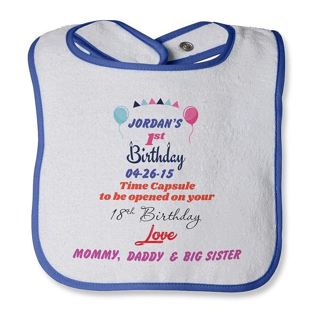 Personalized Custom Birthday Time capsule Cotton Terry Bib Contrast Trim