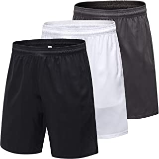 LEICHR 3 Pack Men's Active Athletic Performance Shorts Workout Gym Short with Pockets