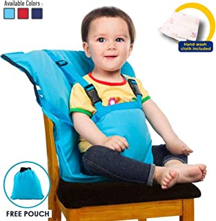 Baby High Chair Portable Easy Seat Harness for Travel Feeding Time, Suitable for Dining Camping Chair, Holds Baby Infant Toddler Up to 44 lbs, Hand Wash Cloth Included