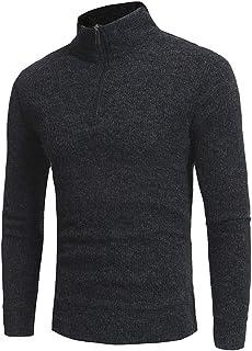Nansiche Mens Turtleneck Sweater High Collar Blouses Long Sleeve Zipper Pullovers