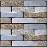 VANCORE 3D Faux Stone Wall Panels Plastic Subway Peel and Stick Tile Backsplash 12x12In, Waterproof Self Adhesive Wall Tiles Stick on Kitchen,Bathroom (Blue, 10 Pack)