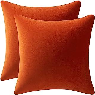 Best DEZENE Couch Pillow Cases 16x16 Burnt Orange: 2 Pack Cozy Soft Velvet Square Throw Pillow Covers for Farmhouse Home Decor Review