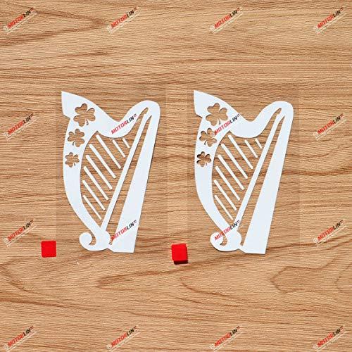 Irish Celtic Harp Decal Sticker Vinyl Ireland Shamrock - 2 Pack White, 4 Inches - for Car Laptop Window