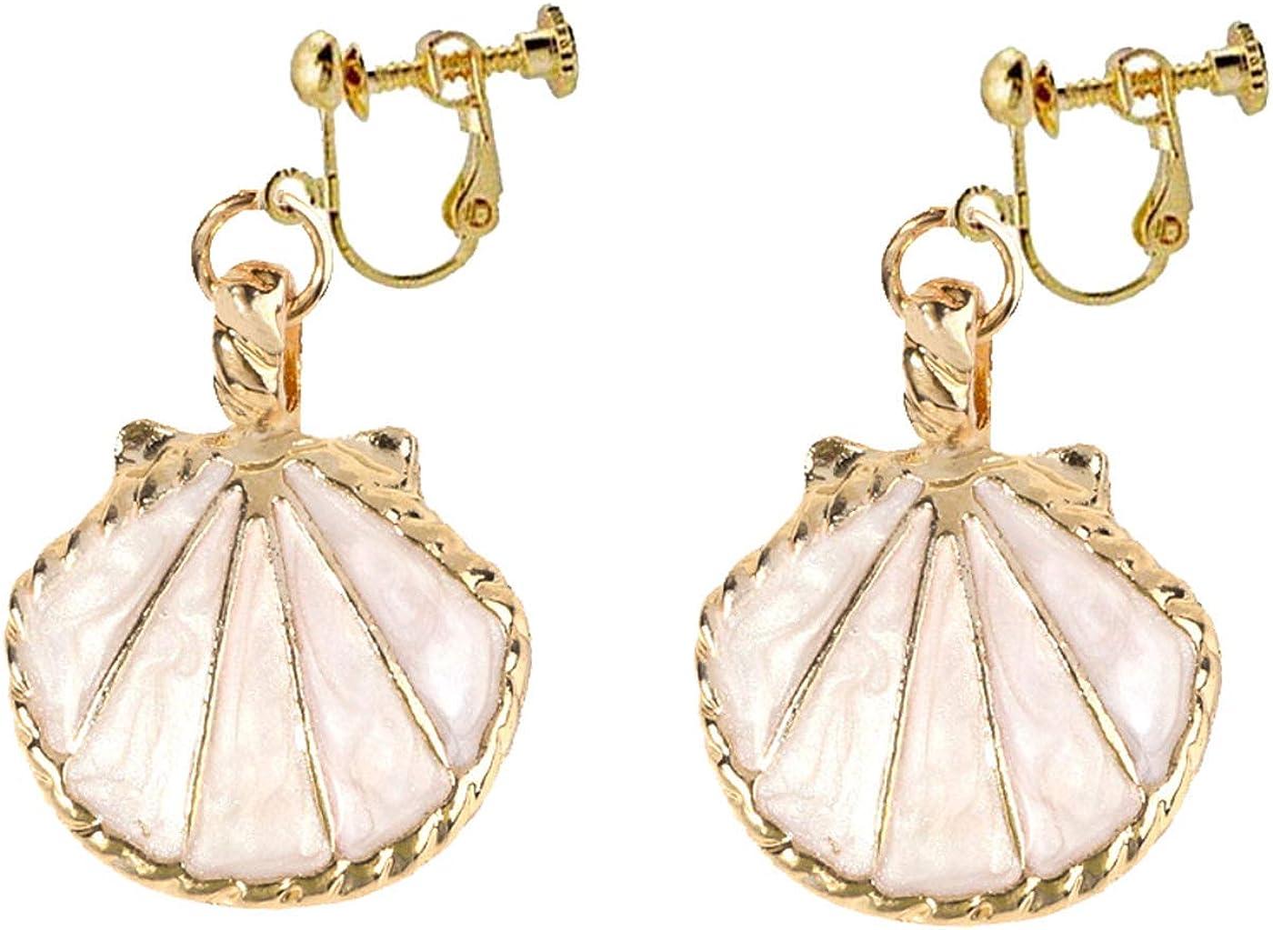 Retro Clip on Bohemian Earrings for Women Girls Enamel Seashell Dangle Drop Tassel Colorful Non Pierced