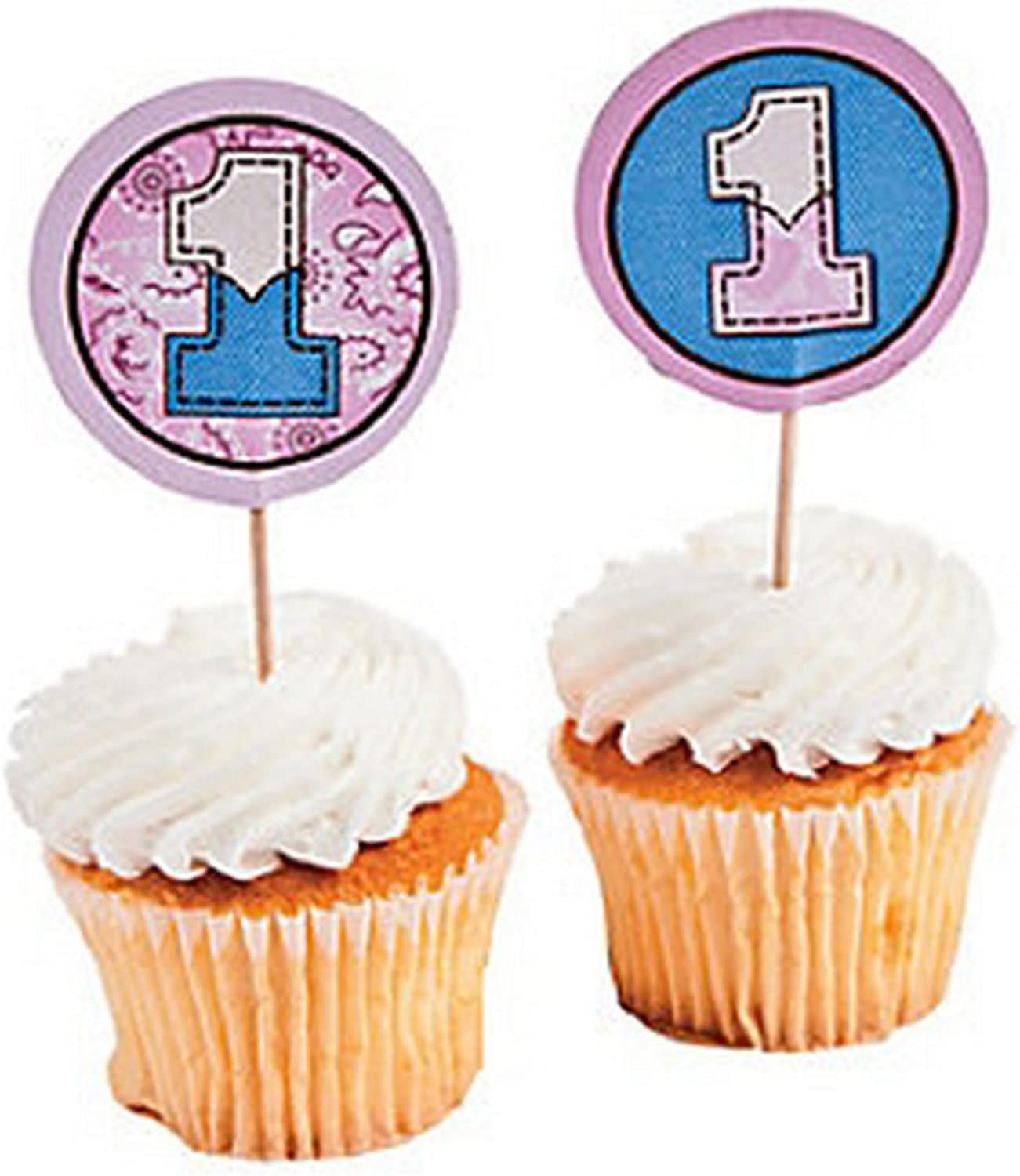 1st Birthday Pink Cowgirl Large Cupcake Picks 25PC. Western Theme Baby Party Supplies Baking Supplies by FX