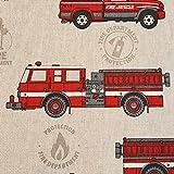 Stoff Meterware Baumwolle natur Feuerwehr Auto pflegeleicht