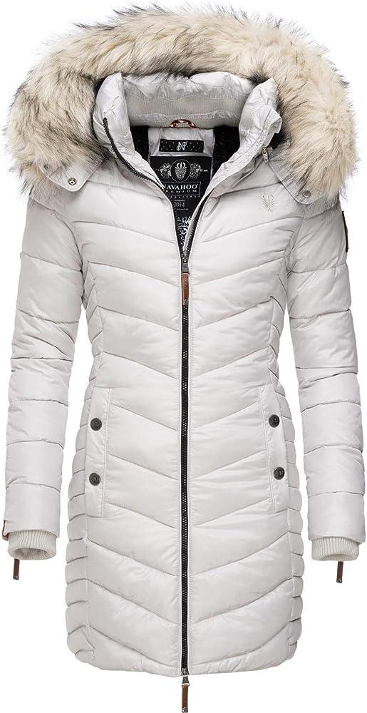 Navahoo ,cappotto invernale da donna , trapuntato, con cappuccio in pelliccia sintetica Nimalaa-36