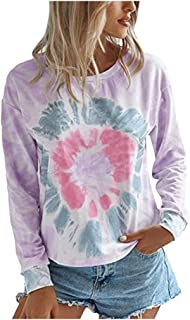ESKNAS Womens Pullover Sweatshirts Autumn Loose Casual Tie-Dye Print Crew-Neck Long Sleeve T-Shirts Tops