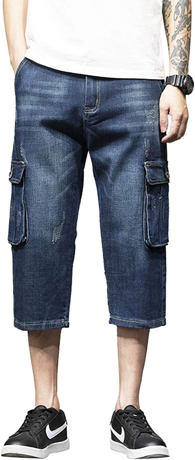 Idopy Men`s Motorcycle Cheap super special price Loose Fit Jeans Phoenix Mall Work Cargo Denim Cropped