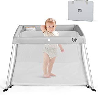 BABY JOY Baby Playpen, Ultra-Light Aluminum Portable Foldable Travel Crib with Comfy Mattress & Oxford Carry Bag, Gray