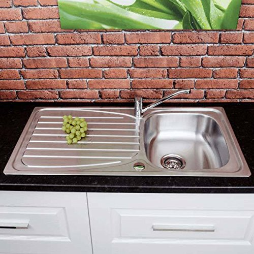 Stainless Steel Inset Kitchen Sink Single Bowl Reversible Drainer + Free Waste