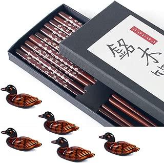 Chopsticks Reusable Dishwasher Safe Wooden Chopsticks Set - Japanese Chopsticks Premium Quality - Non Slip Natural Wood Chop Sticks - 5 Pairs Plus 5 Cute Duck Chopstick Rest Holders - Red Top