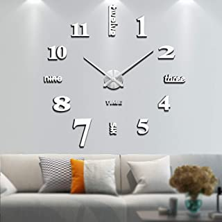 Vangold Large DIY Wall Clock, 2-Year Warranty Modern 3D Wall Clock with Mirror Numbers Stickers for Home Office Decoration...