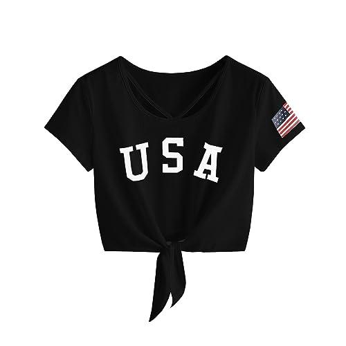 03f54237a Imily Bela Womens Short Sleeve Summer Tops Cross Scoop Neck T-Shirt Knot  Front USA