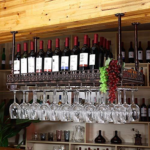 GJBJ-Wine Racks Cubilete Portavasos Suspensión Copa de Vino Estante Estante Colgante de Hierro Titular de Rack Techo Decoración Bar (Color : Marrón, tamaño : 60 * 35cm)