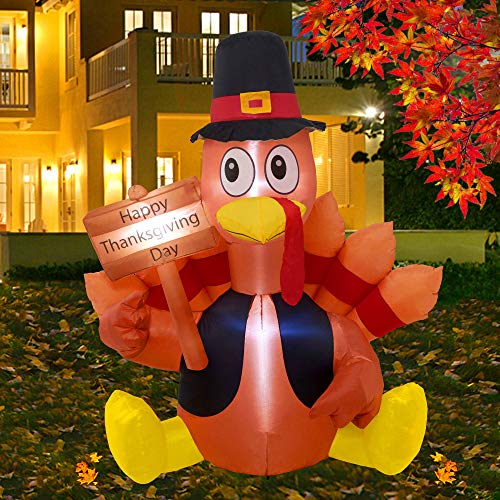 Twinkle Star Thanksgiving Decorations Inflatable Turkey, 6FT Lighted Blow up Turkey Happy Thanksgiving Day, Thanksgiving Inflatables with LED Lights Yard Lawn Decor Display Autumn Outdoor Decoration